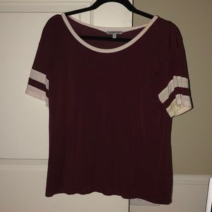 maroon shirt with white stripes